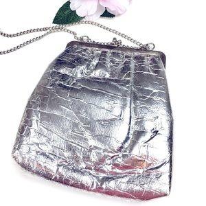 Vintage Silver Foil Evening Handbag Chain Strap
